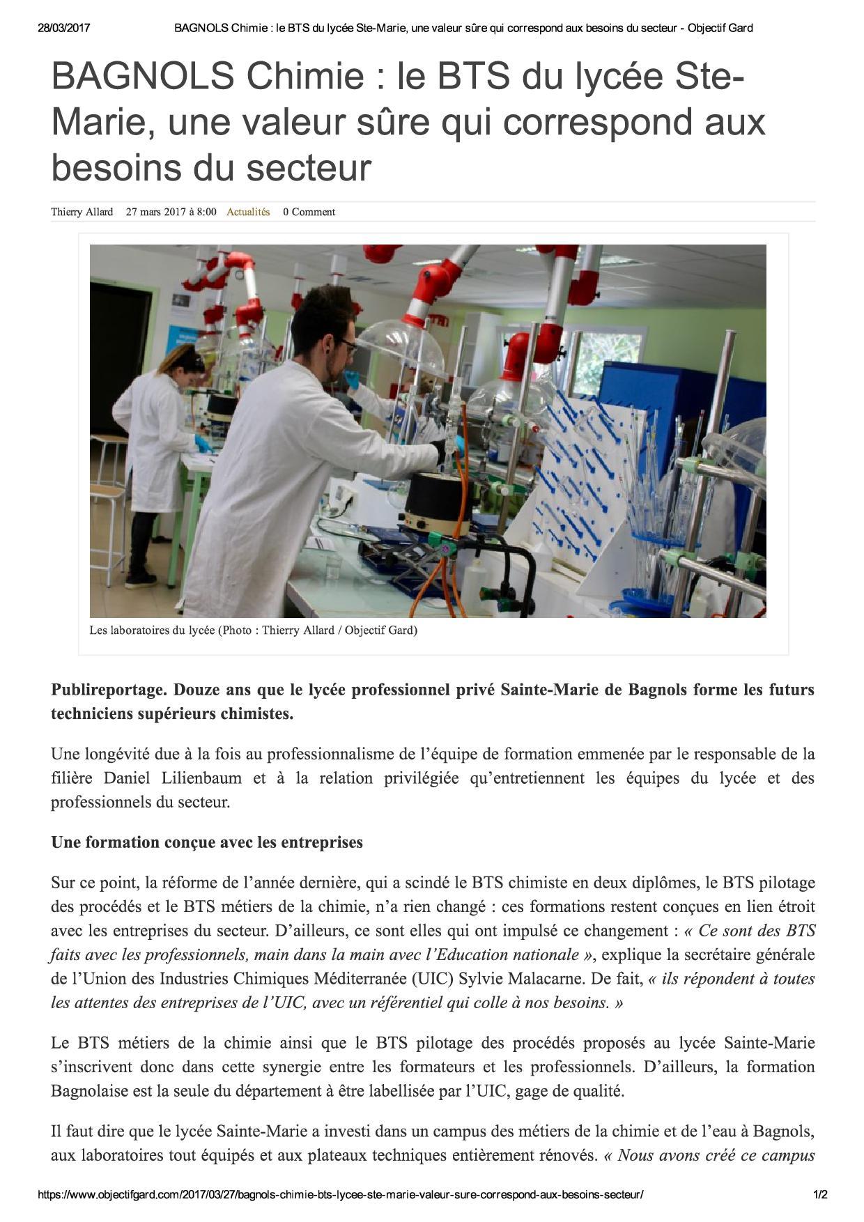 BAGNOLS Chimie _ le BTS du lycée Ste-Ma...aux besoins du secteur - Objectif Gard