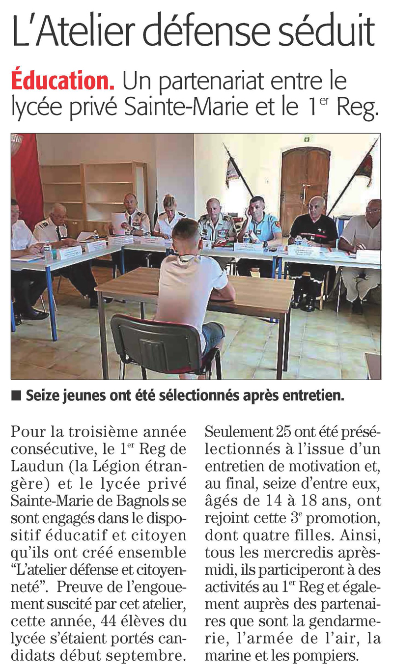 L'atelier defense seduit